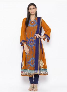 Orange and Blue colour salwar suit