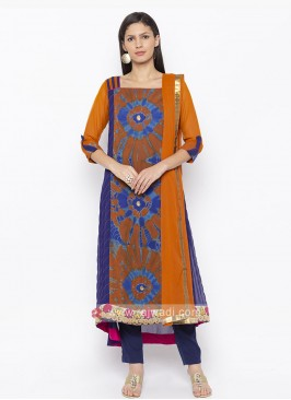 Orange and Blue colour salwar suit