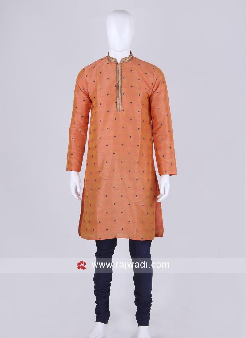 Orange and blue kurta pajama