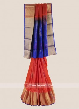 Orange and Blue Pure Silk Saree