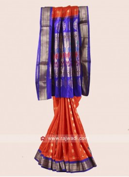 Orange and Blue Resham Weaved Saree
