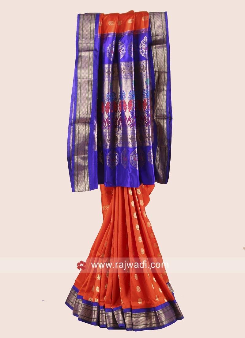 Orange and Blue Resham Weaved Saree