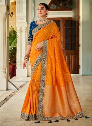 Orange and Blue Saree In Banarasi Saree