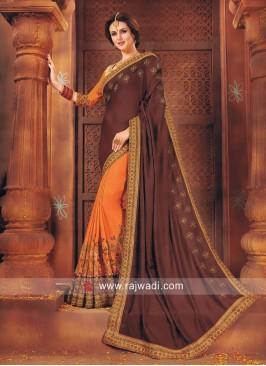 Orange and Brown Half n Half Saree