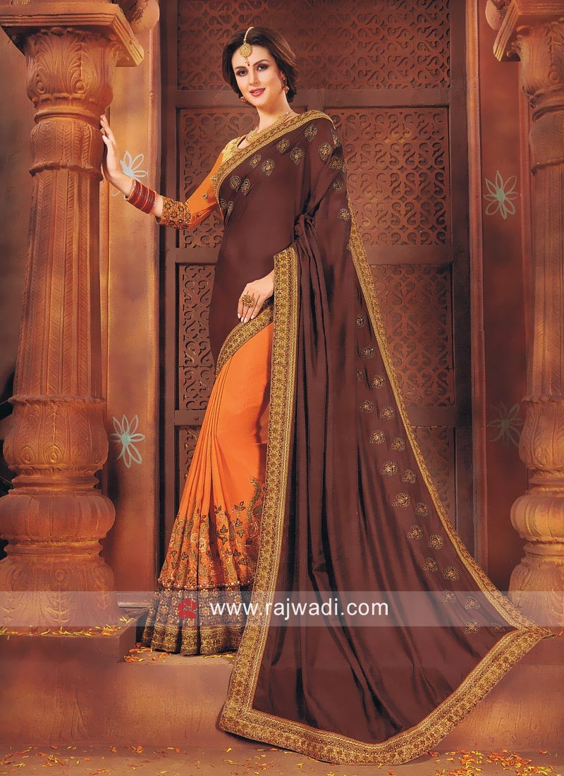Orange and Brown Half n Half Saree