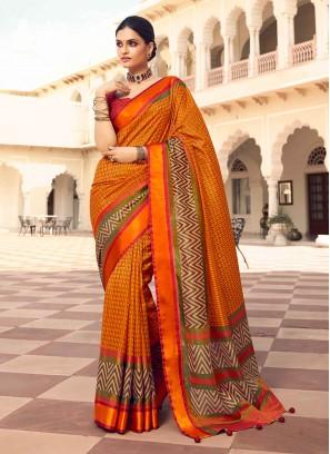 Orange And Crimson Color Art Dola Silk Saree