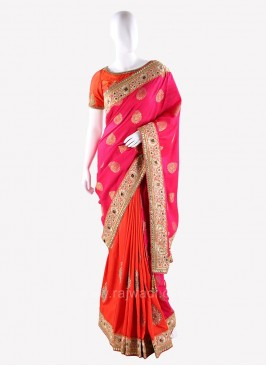 Orange and Deep Pink Two Tone Saree