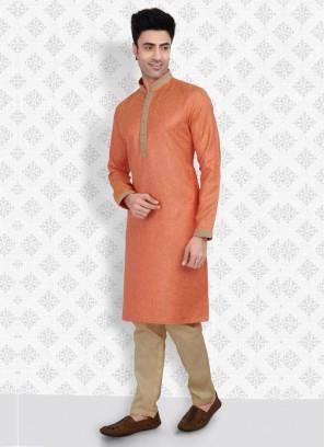 Orange And Golden Color Cotton Silk Kurta Pajama