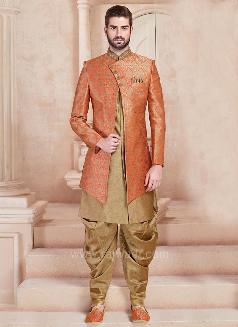 Orange and Golden Color Indo Western Sherwani