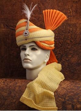 Orange And Golden Cotton Zari Turban