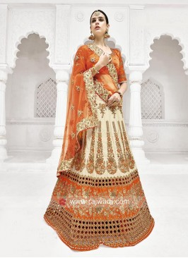 Orange and Golden Shaded Lehenga Saree