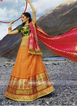 Orange and Green Lehenga Choli
