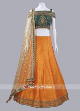 Orange and Green Lehenga Set