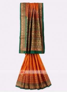Orange And Green Silk Saree