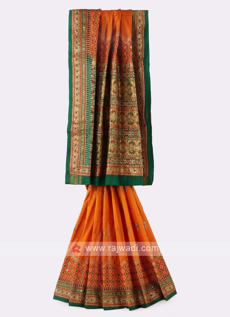 Orange And Green Silk Saree