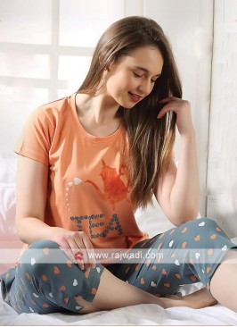 Orange and grey color night suit