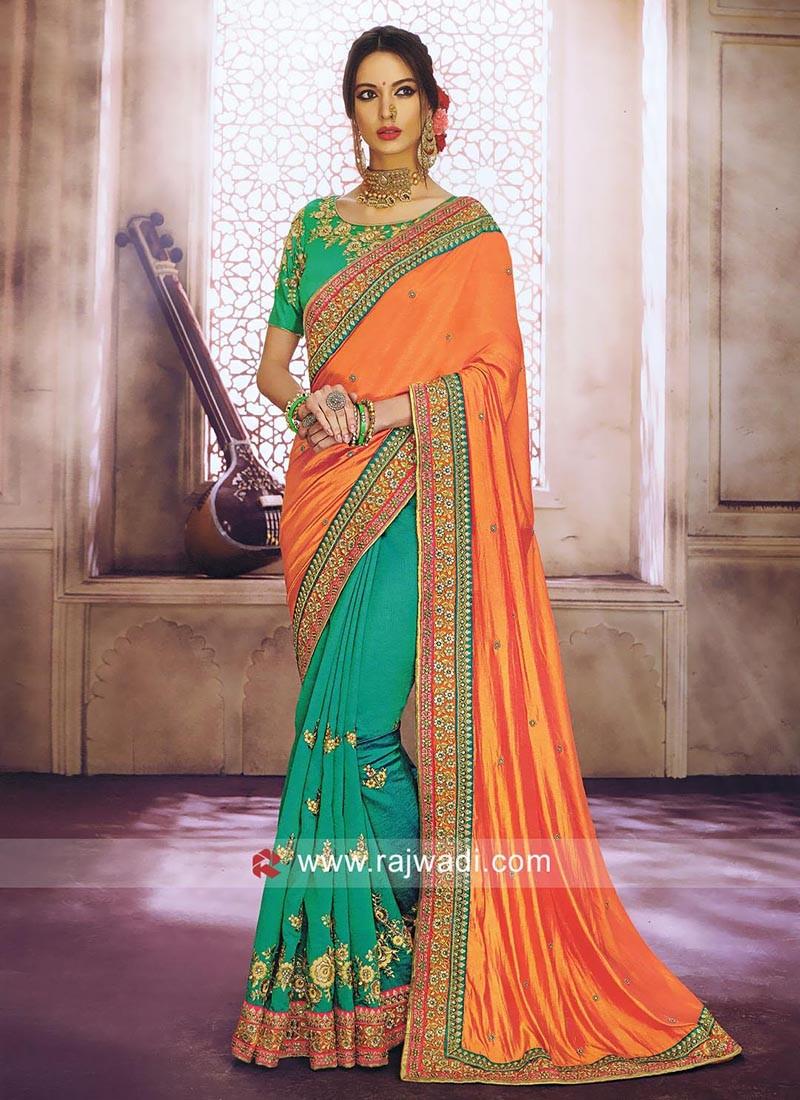 Orange and Light Green Half Saree