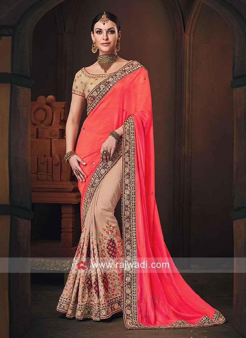 Orange and Light Peach Half n Half Saree