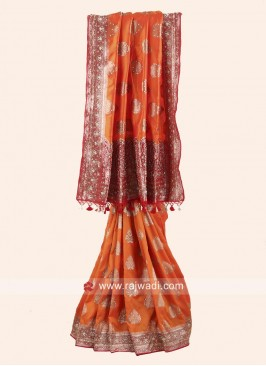 Orange and Maroon Heavy Embroidered Saree