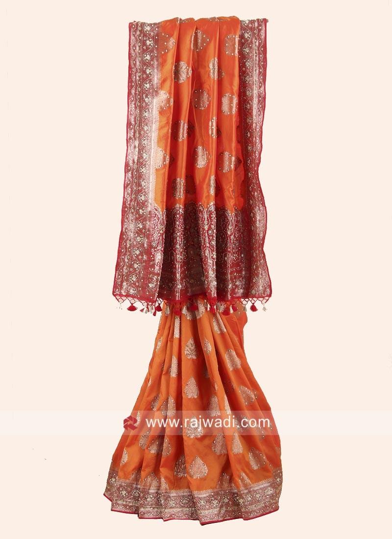 Orange and Maroon Heavy Embroidered Saree