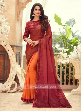 Orange And Maroon Shaded Chiffon Saree