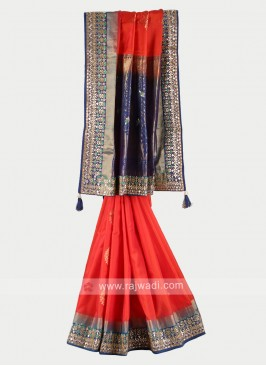 Orange and navy blue pure silk saree