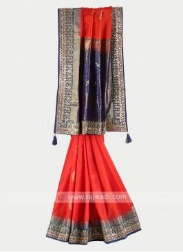 Orange and navy blue pure silk saree