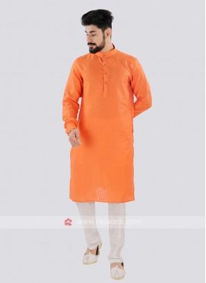 Orange And Off White Linen Kurta Set