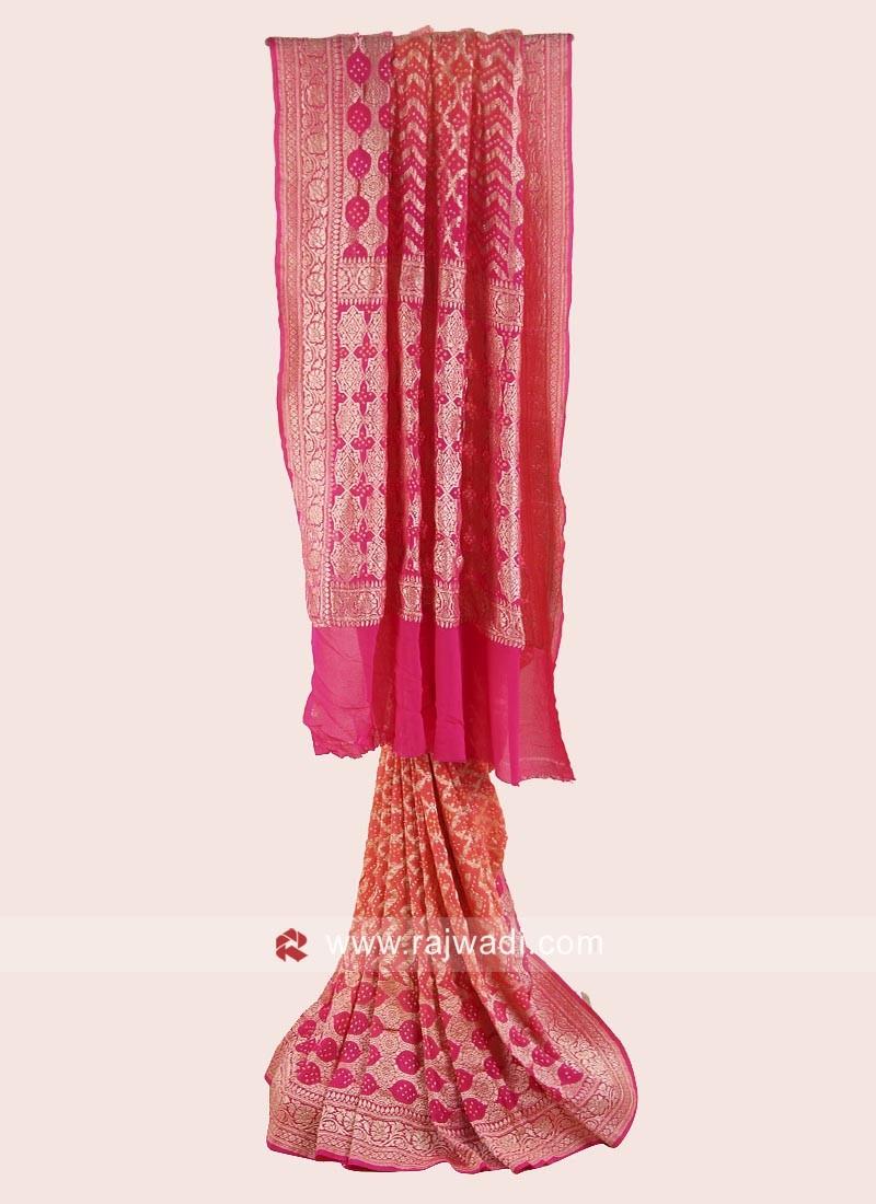 Orange and Pink Bandhani Saree