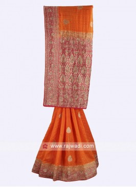 Orange and pink color raw silk saree