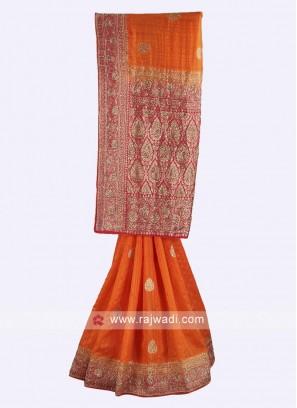 Orange and pink color raw silk saree