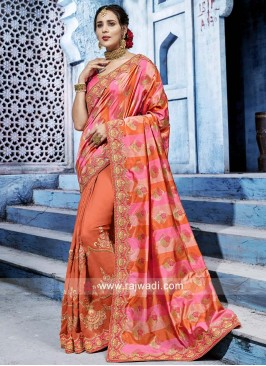 Orange and Pink Designer Half Saree