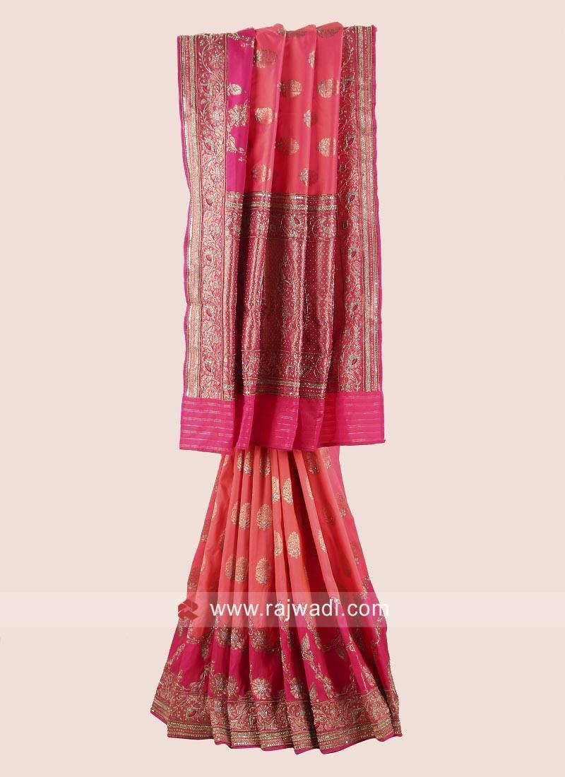 Orange and Pink Embroidered Saree