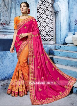 Orange and Pink Half n Half Saree