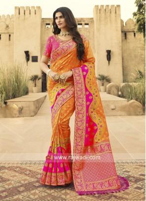 Orange and Pink Heavy Banarasi Silk Saree