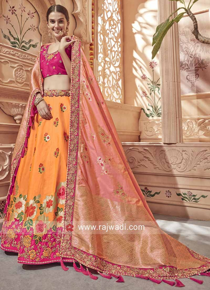 Orange and Pink Heavy Lehenga Set