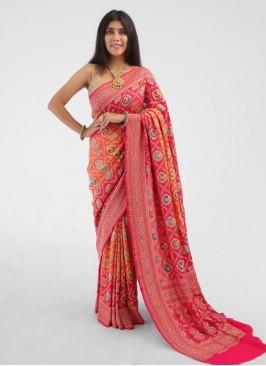 Orange And Pink Shaded chiffon Saree
