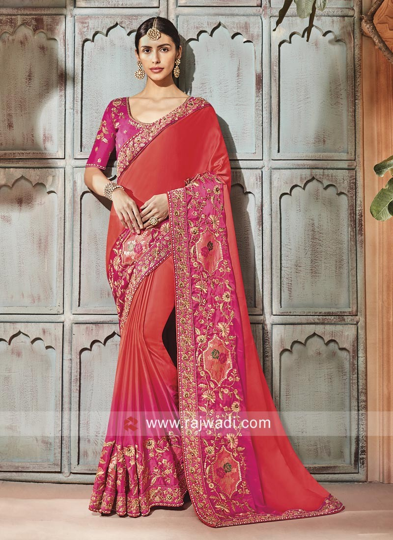 Orange and pink Shaded Saree