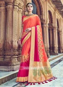 Orange and Pink Shaded Woven Saree