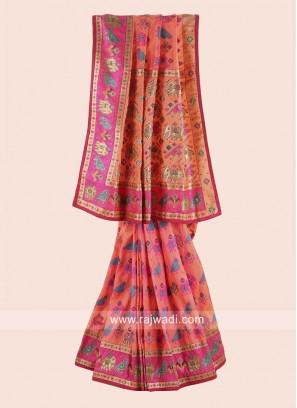 Orange and Pink Traditional Silk Saree