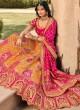 Orange and Pink Wedding Banarasi Silk A Line Lehenga Choli