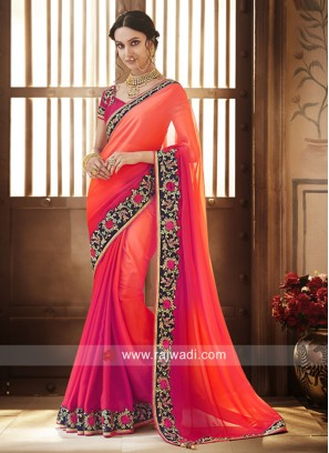 Orange and Rani Shaded Border Work Saree