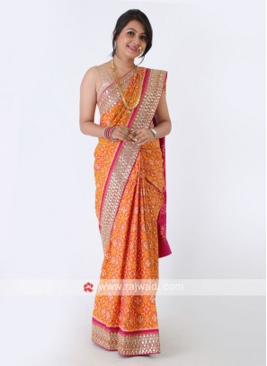 Orange And Rani Silk Saree