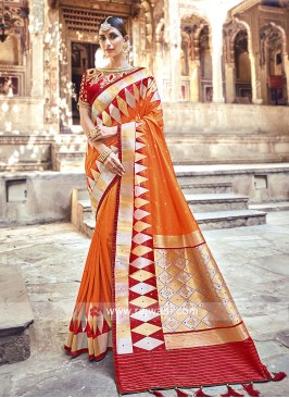 Orange and Red Banarasi Silk Saree