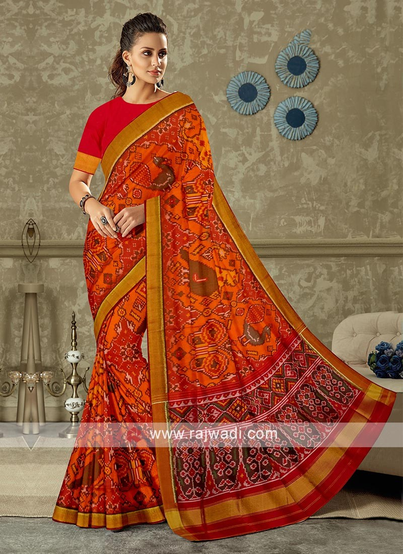Orange and red color pure silk saree