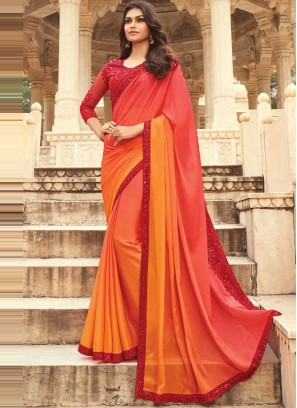 Orange and Red Embroidered Ceremonial Shaded Saree