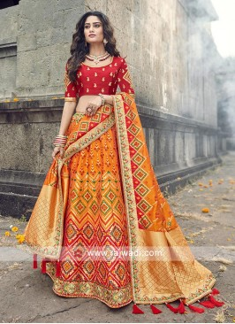 Orange and red lehenga choli