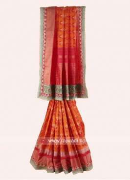 Orange and Red Patola Saree