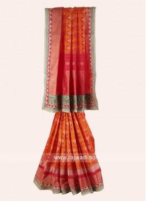 Orange and Red Patola Saree