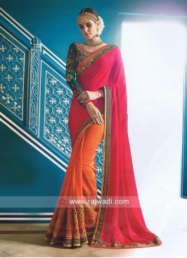 Orange and Red Two Tone Saree